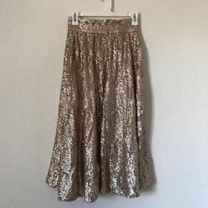 Rose Gold Sequin Midi Skirt    ASOS
